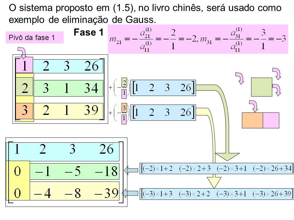 O sistema proposto em (1.5), no livro chinês, será usado como exemplo de eliminação de Gauss.