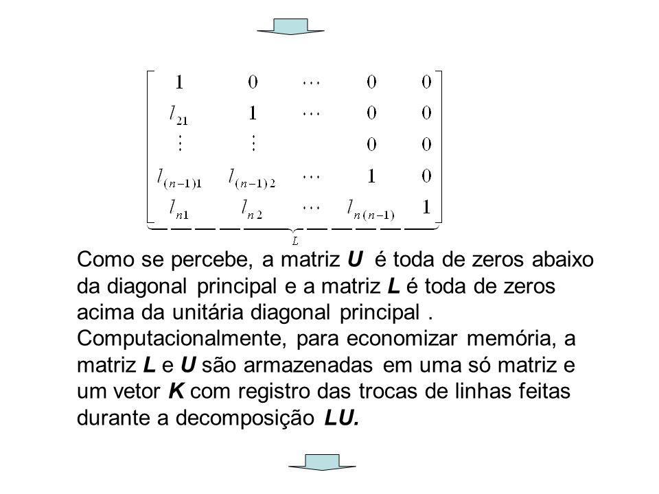Como se percebe, a matriz U é toda de zeros abaixo da diagonal principal e a matriz L é toda de zeros acima da unitária diagonal principal .