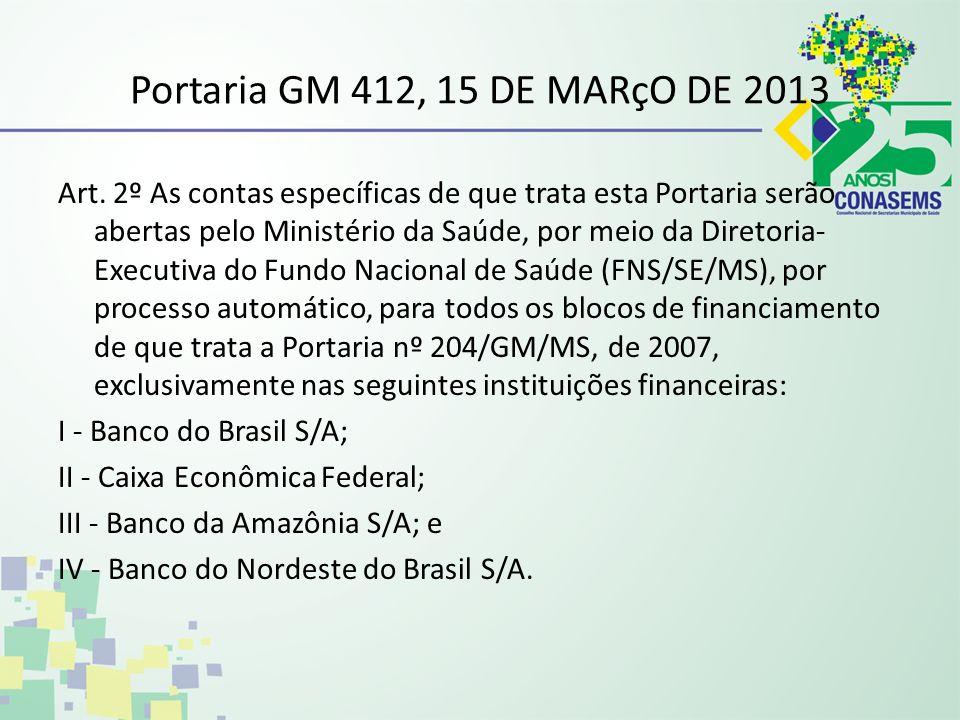 Portaria GM 412, 15 DE MARçO DE 2013