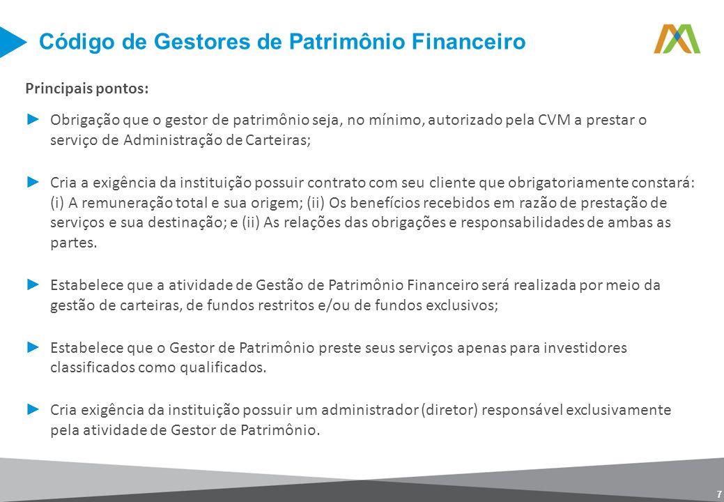 Código de Gestores de Patrimônio Financeiro