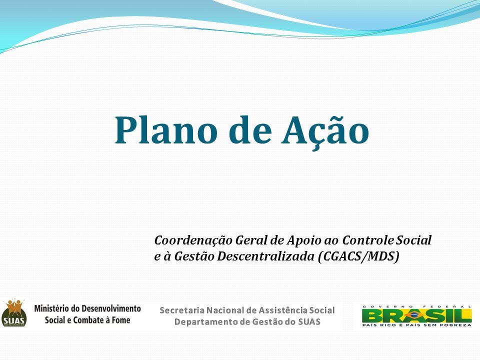 Plano de Ação Coordenação Geral de Apoio ao Controle Social e à Gestão Descentralizada (CGACS/MDS) Secretaria Nacional de Assistência Social.