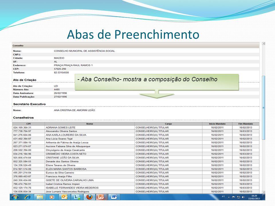 Abas de Preenchimento - Aba Conselho- mostra a composição do Conselho
