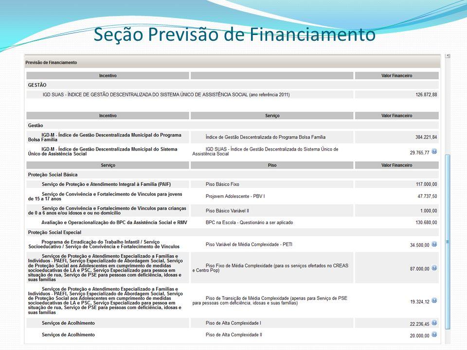 Seção Previsão de Financiamento