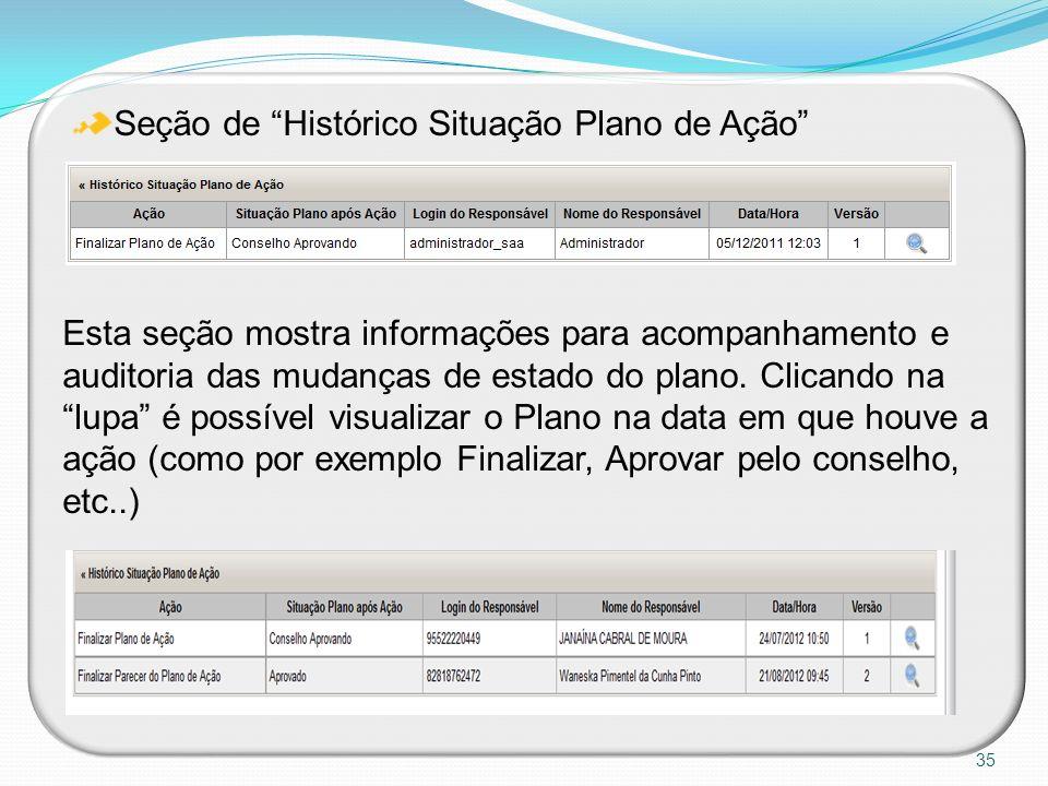 Seção de Histórico Situação Plano de Ação