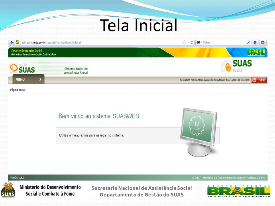 Tela Inicial Secretaria Nacional de Assistência Social