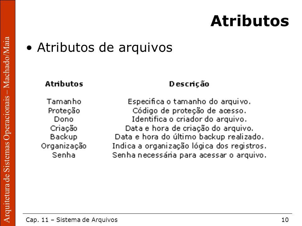 Atributos Atributos de arquivos