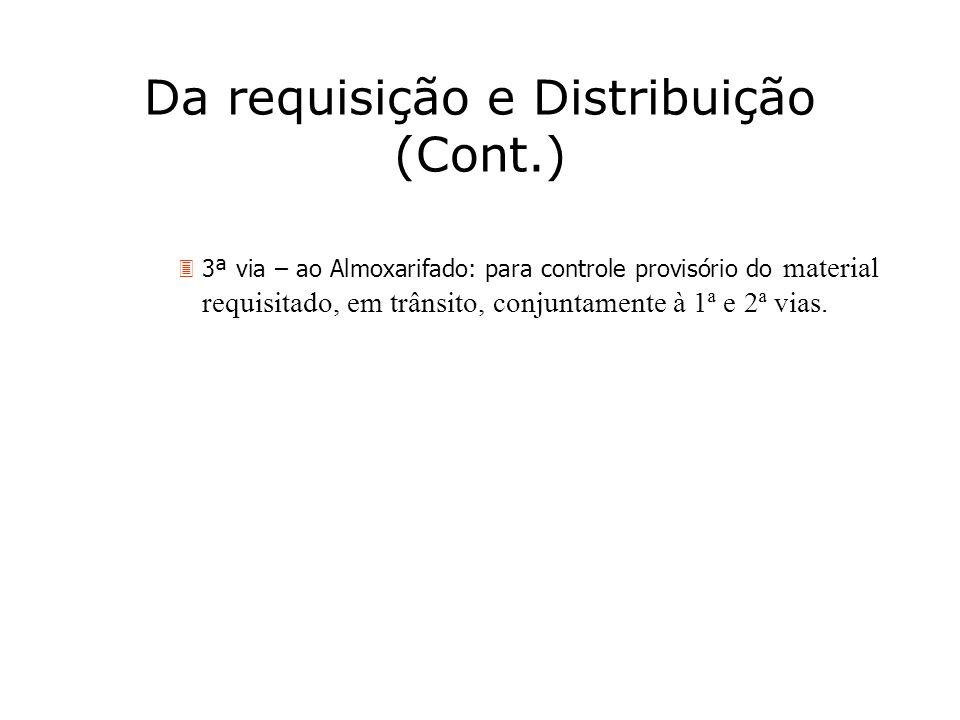 Da requisição e Distribuição (Cont.)