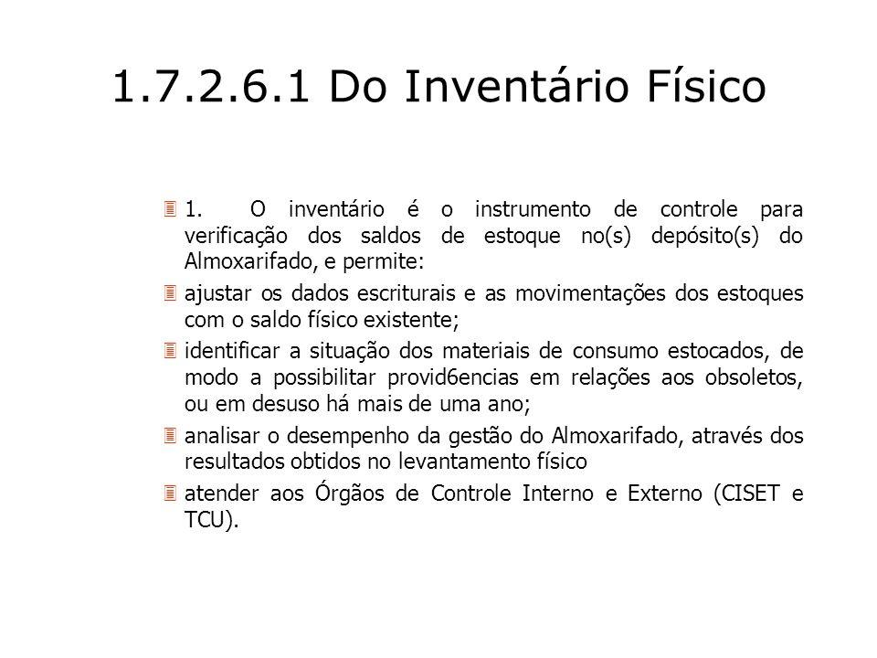 1.7.2.6.1 Do Inventário Físico