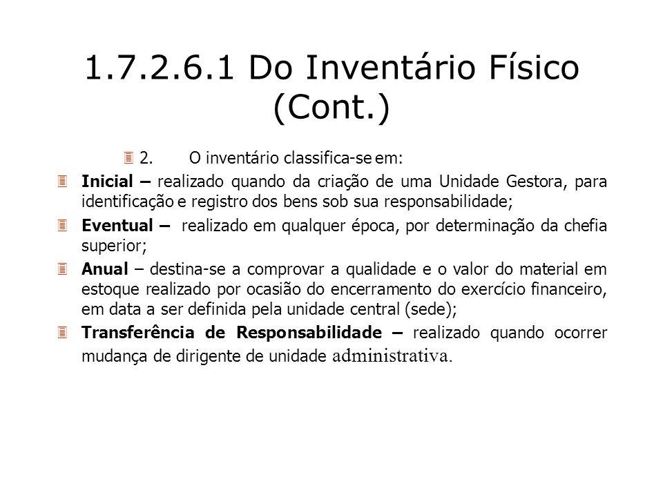 1.7.2.6.1 Do Inventário Físico (Cont.)
