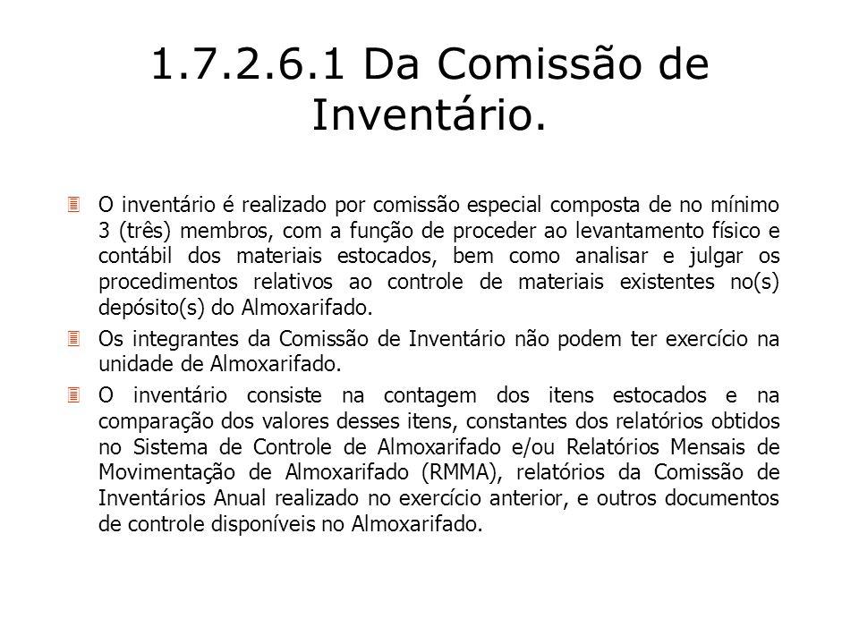 1.7.2.6.1 Da Comissão de Inventário.