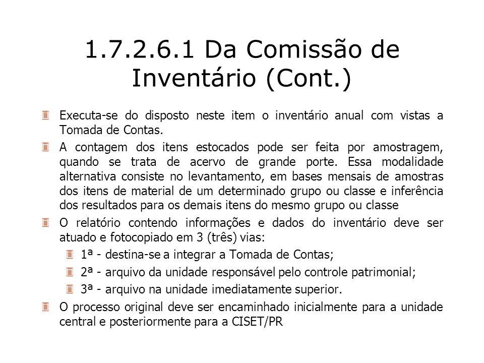 1.7.2.6.1 Da Comissão de Inventário (Cont.)