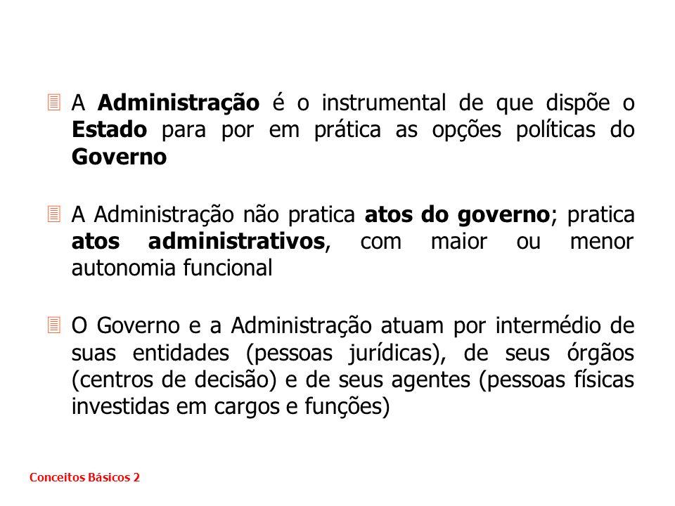 A Administração é o instrumental de que dispõe o Estado para por em prática as opções políticas do Governo