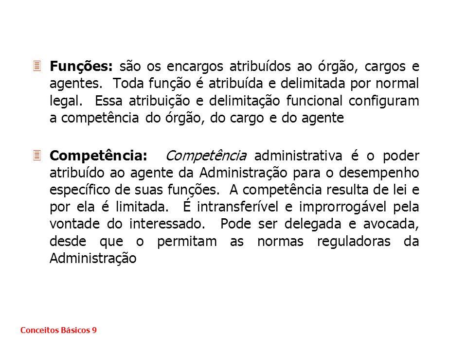 Funções: são os encargos atribuídos ao órgão, cargos e agentes
