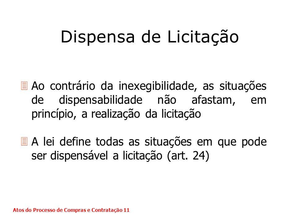 Dispensa de LicitaçãoAo contrário da inexegibilidade, as situações de dispensabilidade não afastam, em princípio, a realização da licitação.
