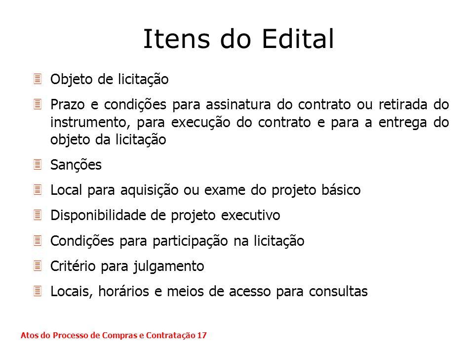 Itens do Edital Objeto de licitação