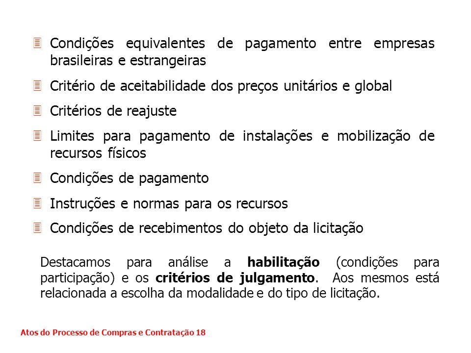 Critério de aceitabilidade dos preços unitários e global