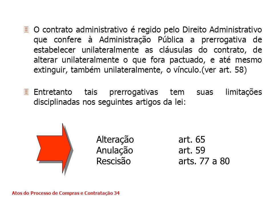 Alteração art. 65 Anulação art. 59 Rescisão arts. 77 a 80