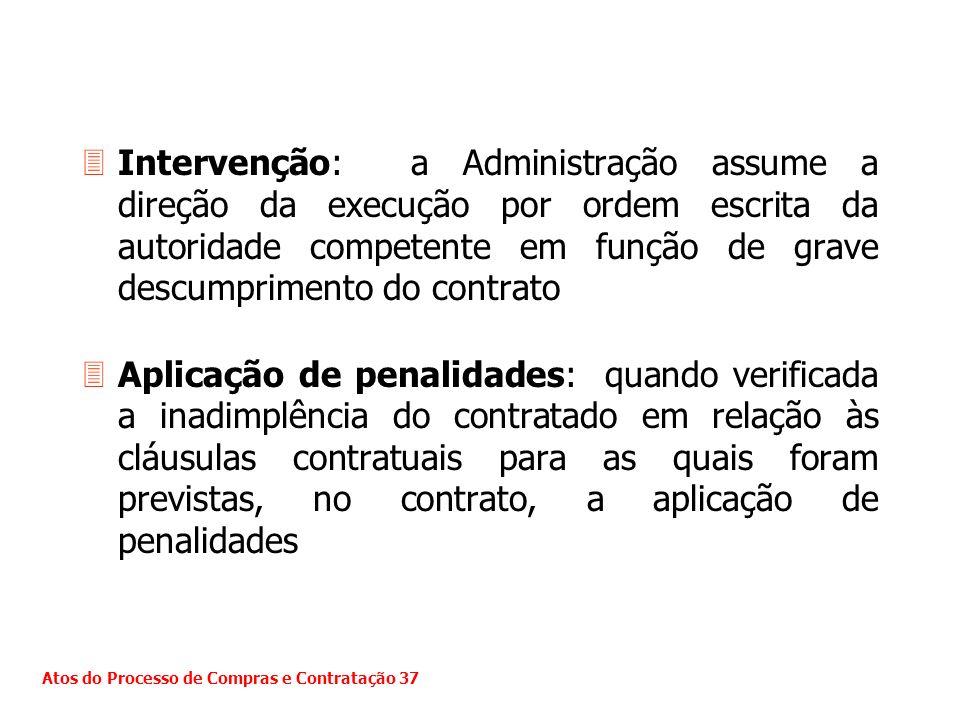 Intervenção: a Administração assume a direção da execução por ordem escrita da autoridade competente em função de grave descumprimento do contrato