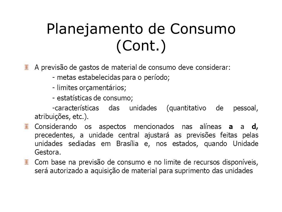 Planejamento de Consumo (Cont.)