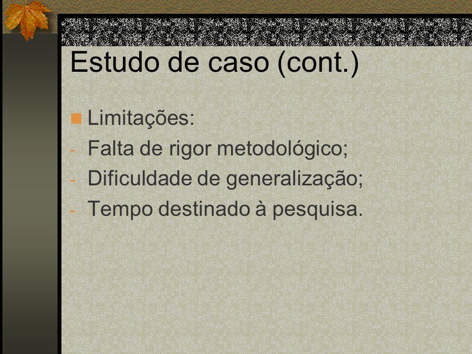 Estudo de caso (cont.) Limitações: Falta de rigor metodológico;