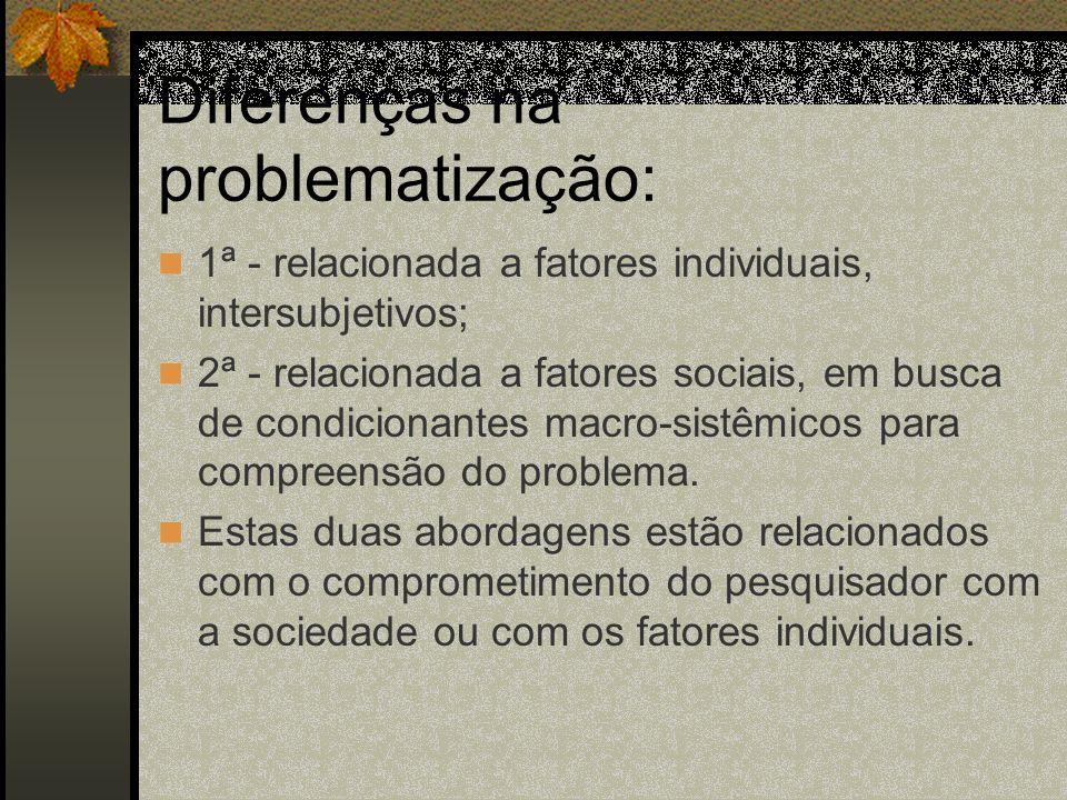 Diferenças na problematização:
