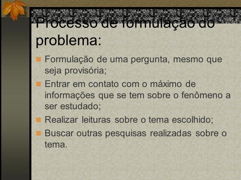 Processo de formulação do problema: