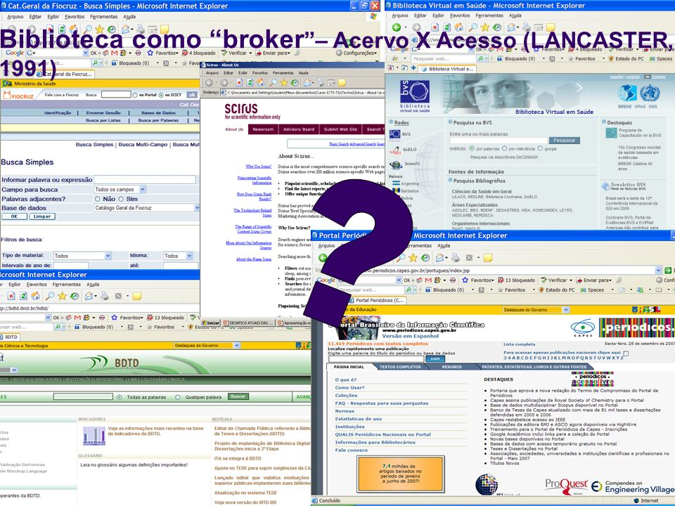 Biblioteca como broker – Acervo X Acesso (LANCASTER, 1991)