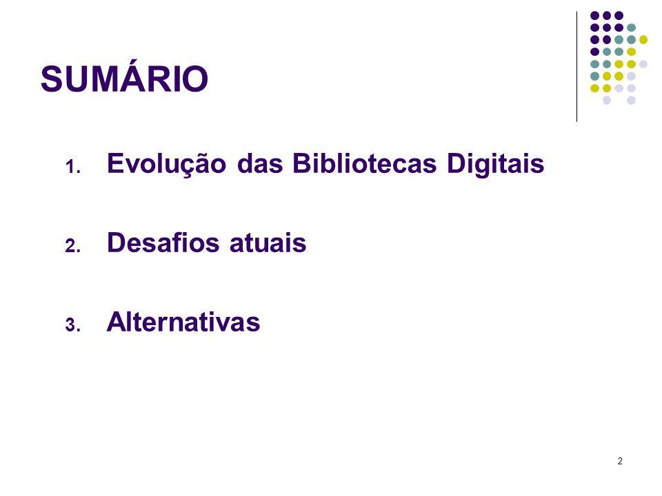 SUMÁRIO Evolução das Bibliotecas Digitais Desafios atuais Alternativas