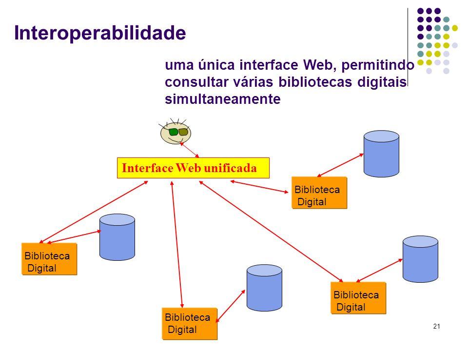 Interoperabilidade uma única interface Web, permitindo consultar várias bibliotecas digitais simultaneamente.
