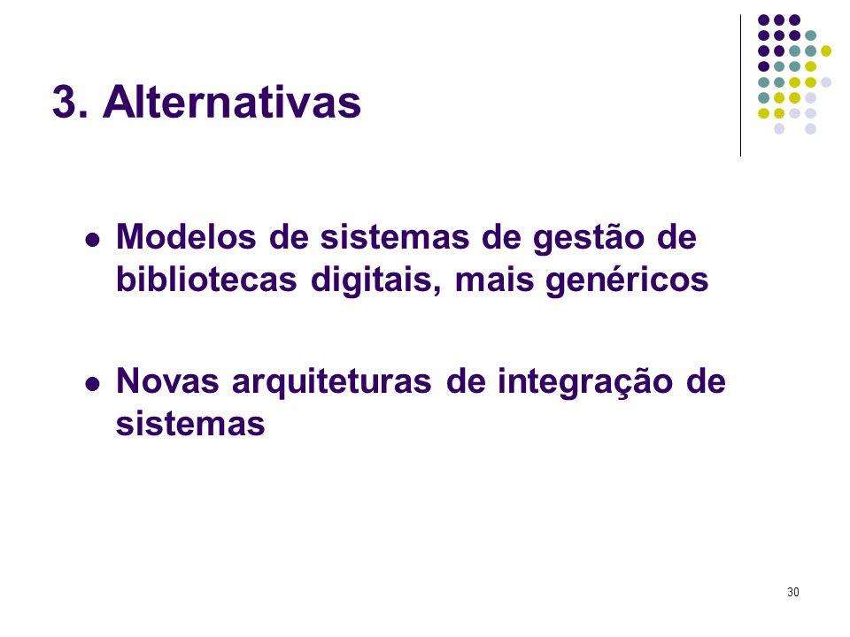 3. Alternativas Modelos de sistemas de gestão de bibliotecas digitais, mais genéricos.