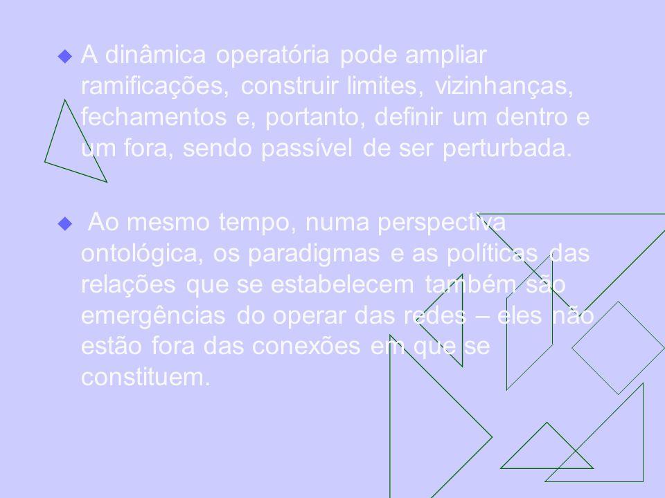 A dinâmica operatória pode ampliar ramificações, construir limites, vizinhanças, fechamentos e, portanto, definir um dentro e um fora, sendo passível de ser perturbada.