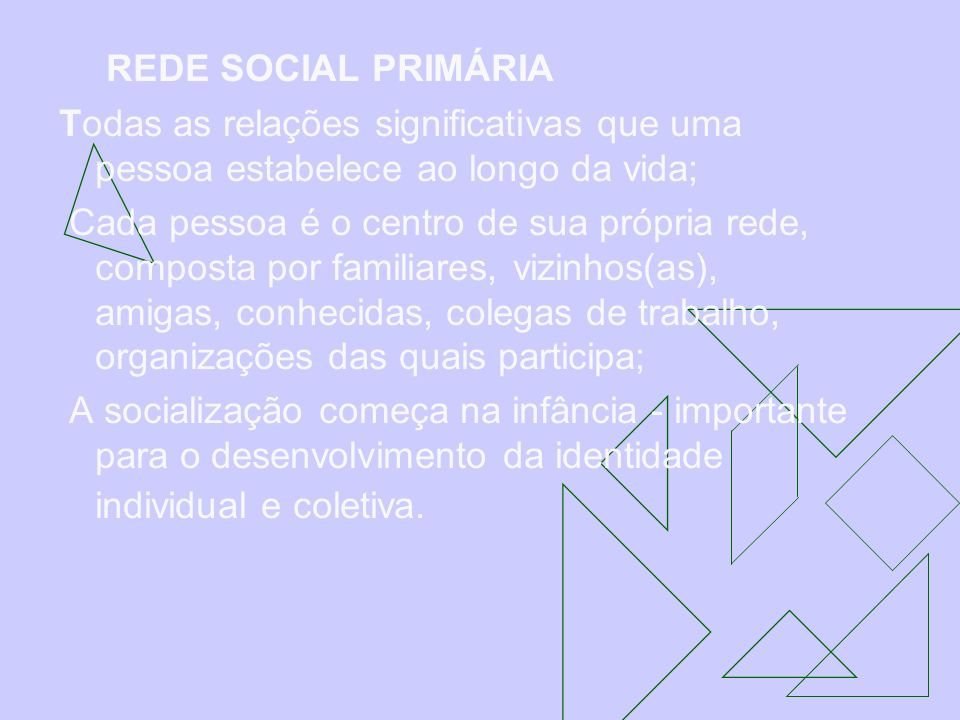 REDE SOCIAL PRIMÁRIATodas as relações significativas que uma pessoa estabelece ao longo da vida;