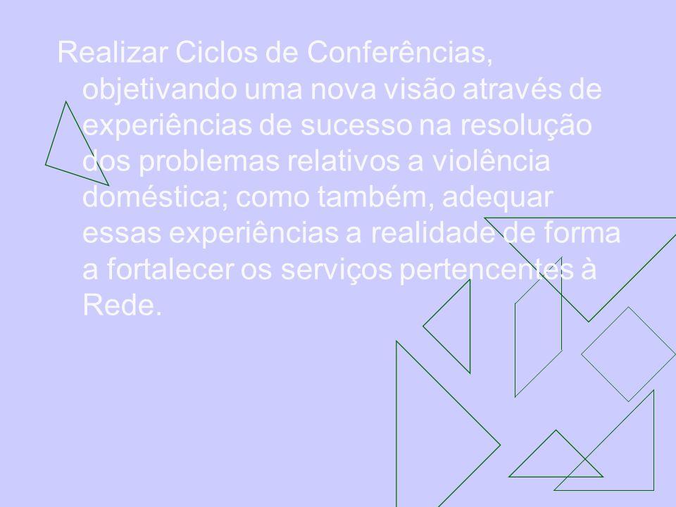 Realizar Ciclos de Conferências, objetivando uma nova visão através de experiências de sucesso na resolução dos problemas relativos a violência doméstica; como também, adequar essas experiências a realidade de forma a fortalecer os serviços pertencentes à Rede.