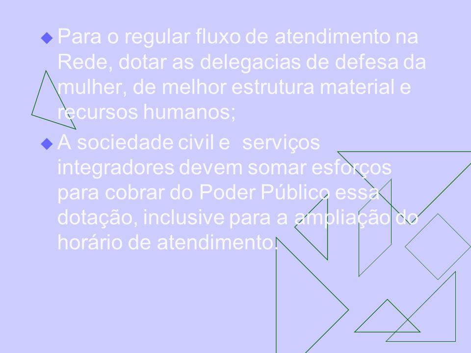 Para o regular fluxo de atendimento na Rede, dotar as delegacias de defesa da mulher, de melhor estrutura material e recursos humanos;
