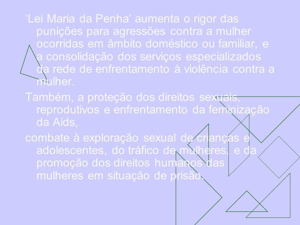 'Lei Maria da Penha' aumenta o rigor das punições para agressões contra a mulher ocorridas em âmbito doméstico ou familiar, e a consolidação dos serviços especializados da rede de enfrentamento à violência contra a mulher.