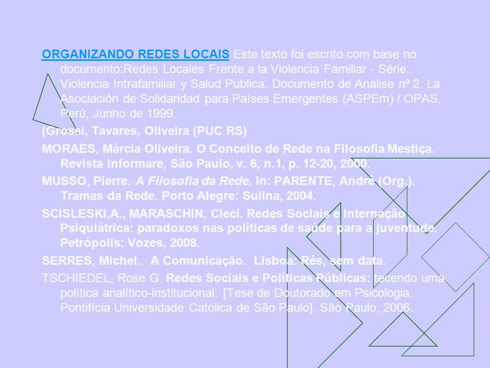 ORGANIZANDO REDES LOCAIS Este texto foi escrito com base no documento:Redes Locales Frente a la Violencia Familiar - Série: Violencia Intrafamiliar y Salud Publica. Documento de Análise nº 2. La Asociación de Solidaridad para Países Emergentes (ASPEm) / OPAS, Perú, Junho de 1999.