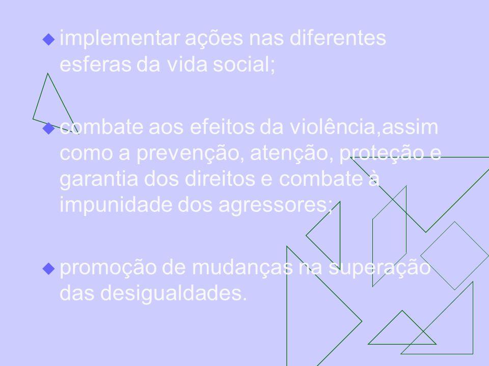 implementar ações nas diferentes esferas da vida social;