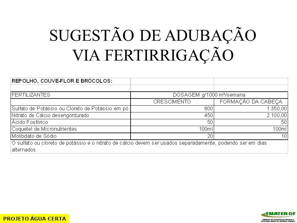 SUGESTÃO DE ADUBAÇÃO VIA FERTIRRIGAÇÃO