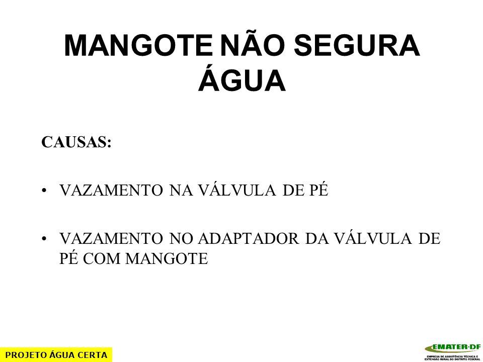 MANGOTE NÃO SEGURA ÁGUA