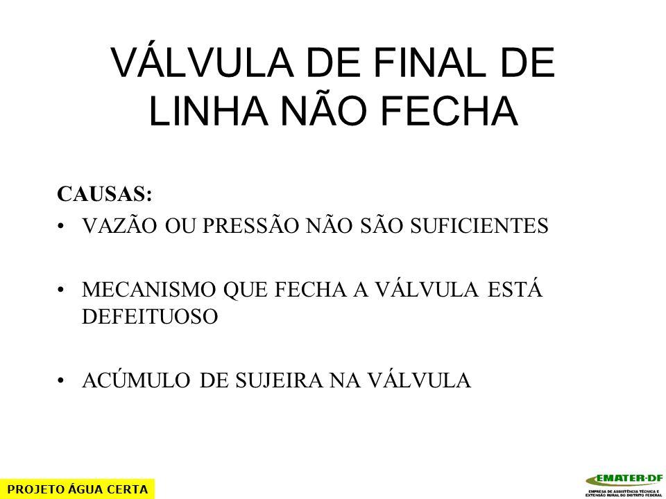 VÁLVULA DE FINAL DE LINHA NÃO FECHA