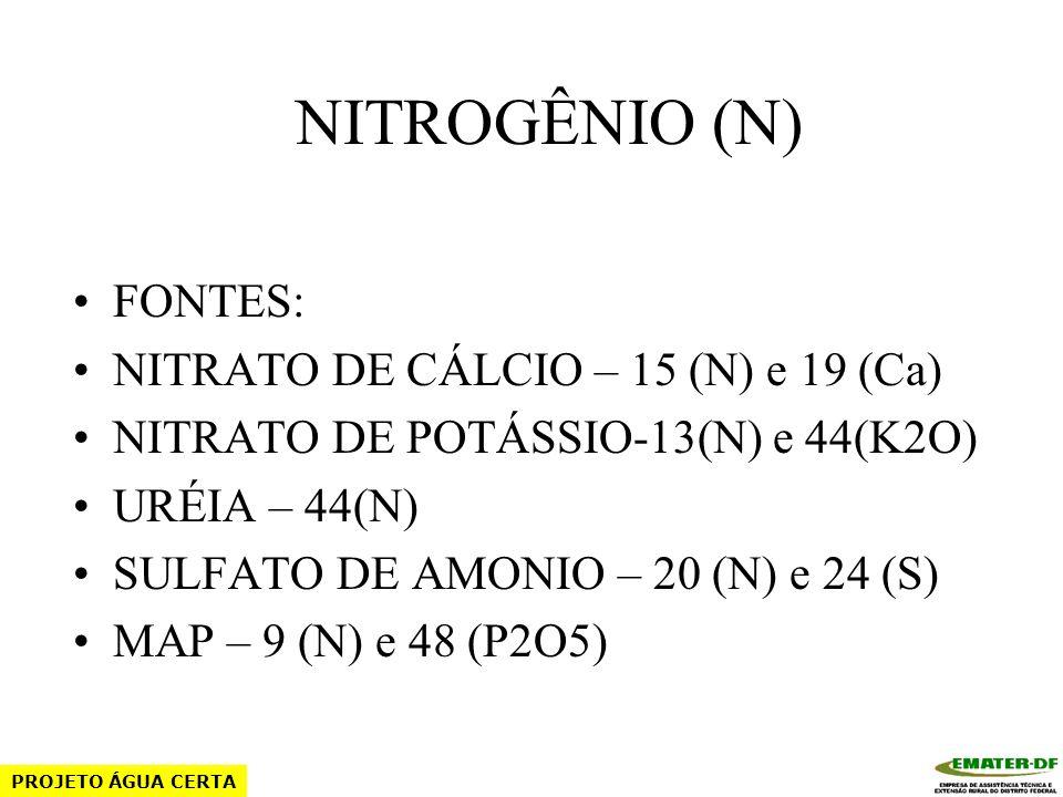 NITROGÊNIO (N) FONTES: NITRATO DE CÁLCIO – 15 (N) e 19 (Ca)