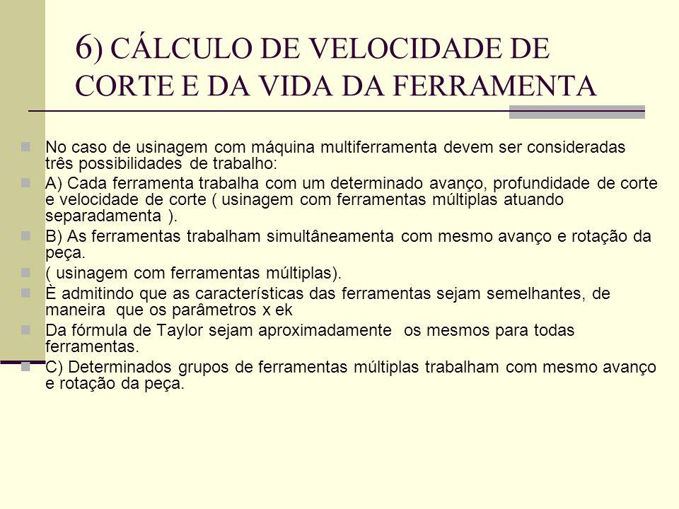 6) CÁLCULO DE VELOCIDADE DE CORTE E DA VIDA DA FERRAMENTA