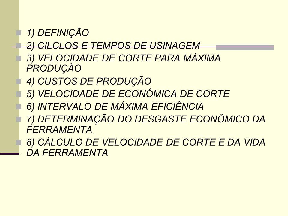 1) DEFINIÇÃO 2) CILCLOS E TEMPOS DE USINAGEM. 3) VELOCIDADE DE CORTE PARA MÁXIMA PRODUÇÃO. 4) CUSTOS DE PRODUÇÃO.