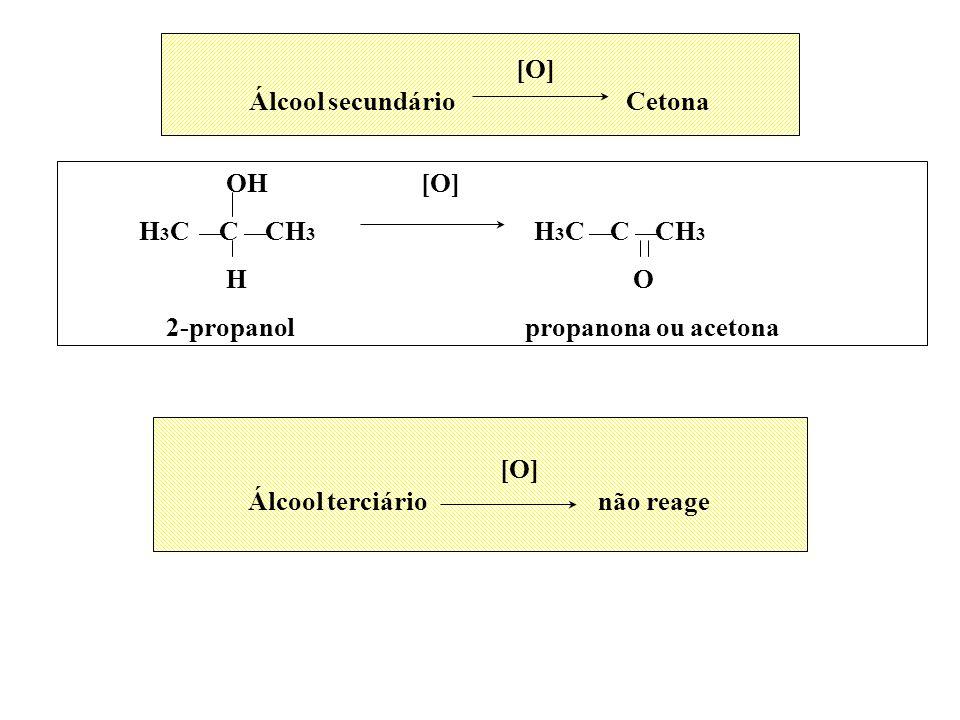 Álcool secundário Cetona Álcool terciário não reage