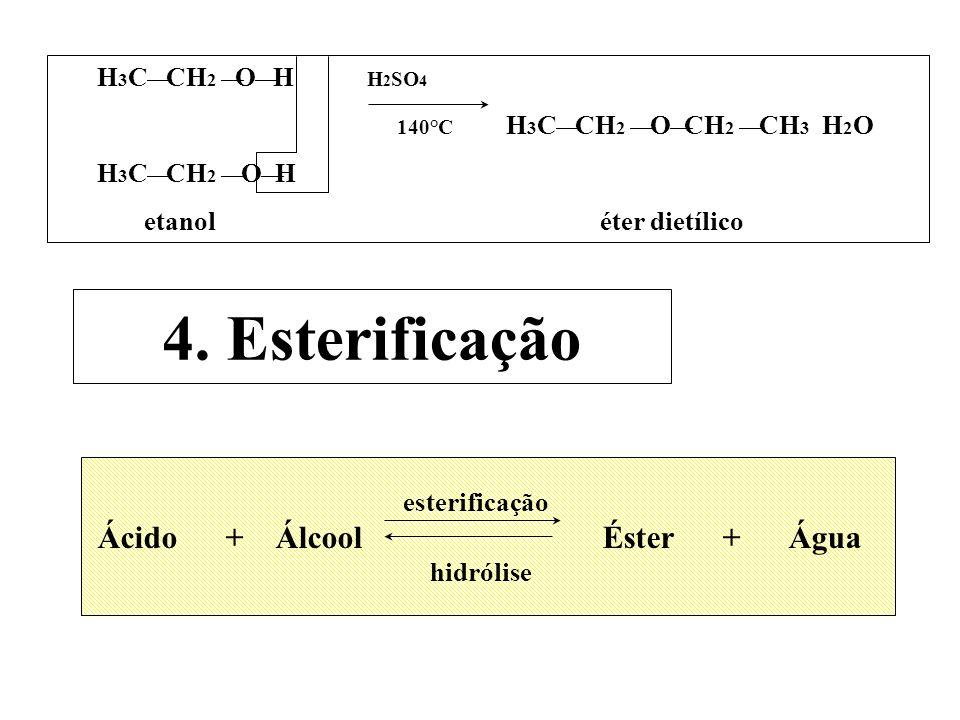 4. Esterificação H3C¾ CH2 ¾O¾ H H2SO4 140°C H3C¾ CH2 ¾ O¾CH2 ¾ CH3 H2O