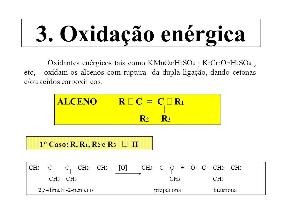 3. Oxidação enérgica ALCENO R ¾ C = C ¾ R1 R2 R3