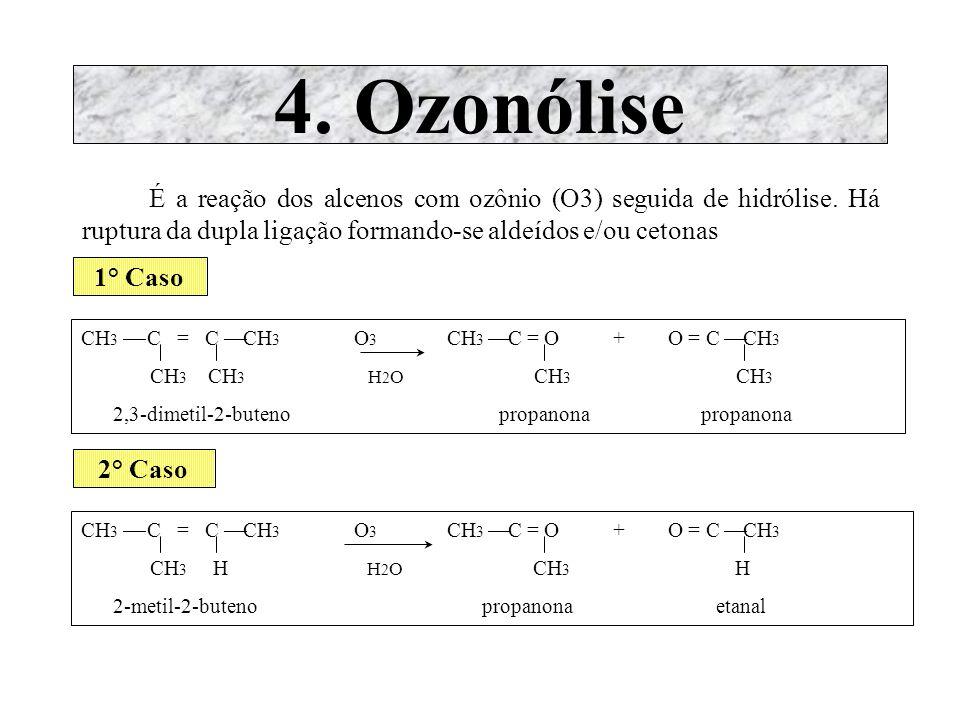 4. Ozonólise É a reação dos alcenos com ozônio (O3) seguida de hidrólise. Há ruptura da dupla ligação formando-se aldeídos e/ou cetonas.