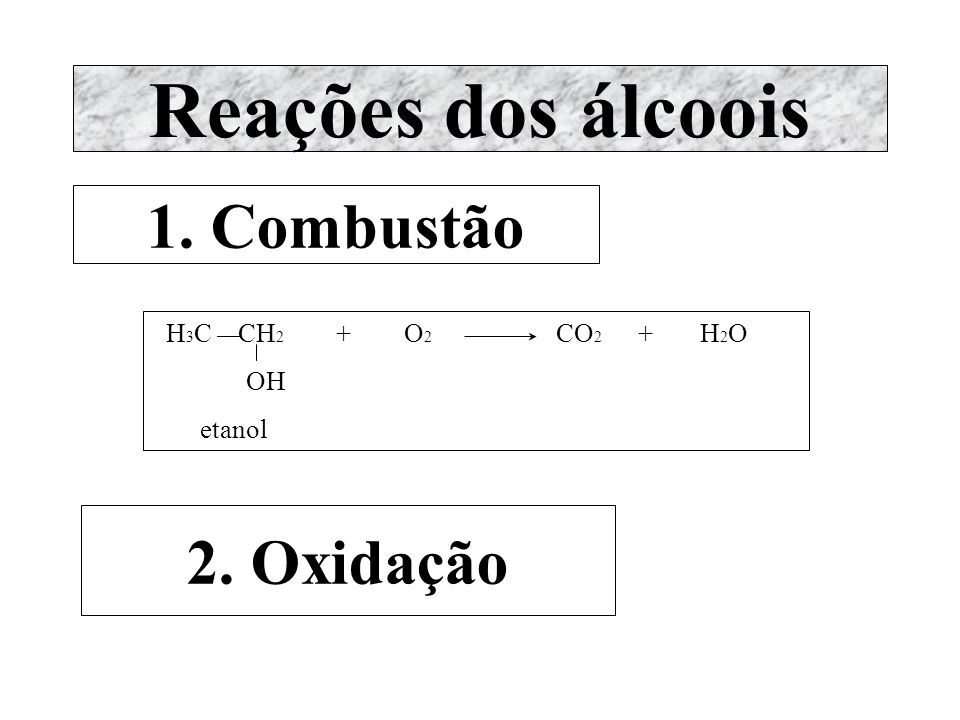 Reações dos álcoois 1. Combustão 2. Oxidação H3C ¾ CH2 + O2 CO2 + H2O