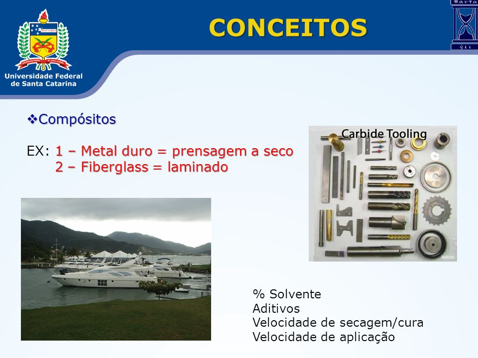 CONCEITOS Compósitos EX: 1 – Metal duro = prensagem a seco