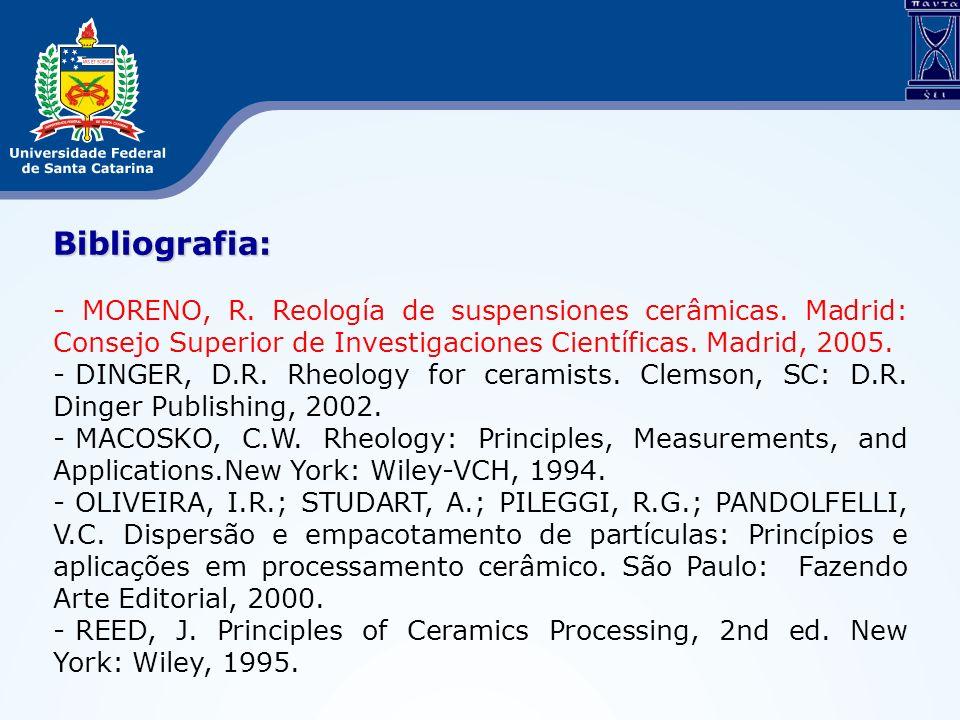 Bibliografia: - MORENO, R. Reología de suspensiones cerâmicas. Madrid: Consejo Superior de Investigaciones Científicas. Madrid, 2005.